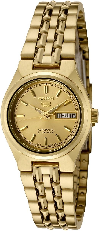 Amazon Com Seiko Women S Syma04 Seiko 5 Automatic Gold Dial Gold Tone Stainless Steel Watch Seiko Watches