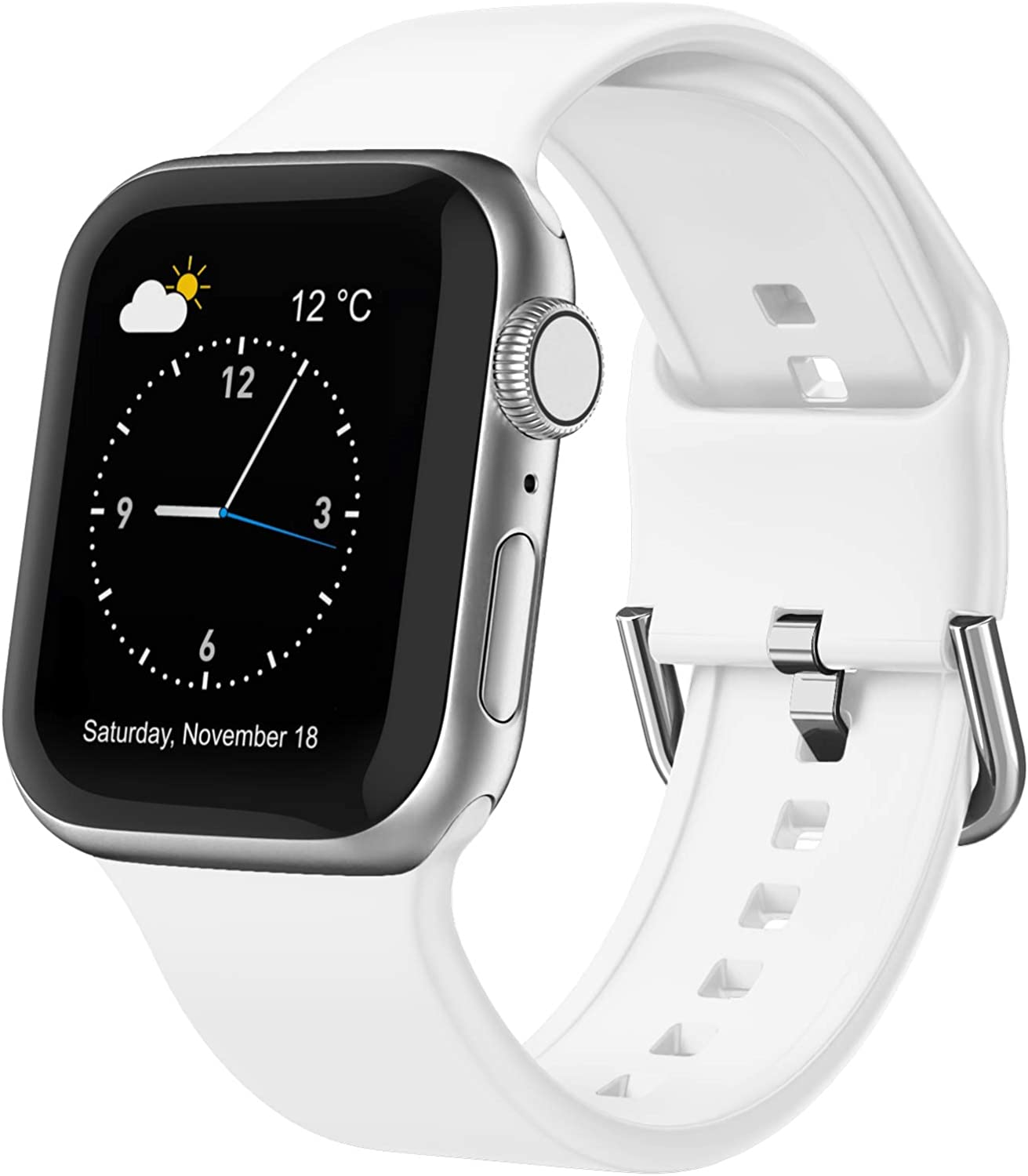 Adepoy Compatible with Apple Watch Bands 40mm 38mm, Soft Silicone Sport Wristbands Replacement Strap with Classic Clasp for iWatch Series SE 6 5 4 3 2 1 for Women Men, White 38/40mm