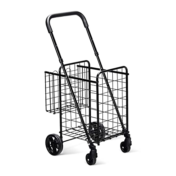 Amazon Com Goplus Folding Shopping Cart Jumbo Double Basket