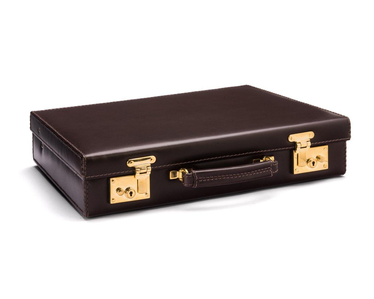 SAGEBROWN Brown Calf Kensington Attache Case, Brass Locks