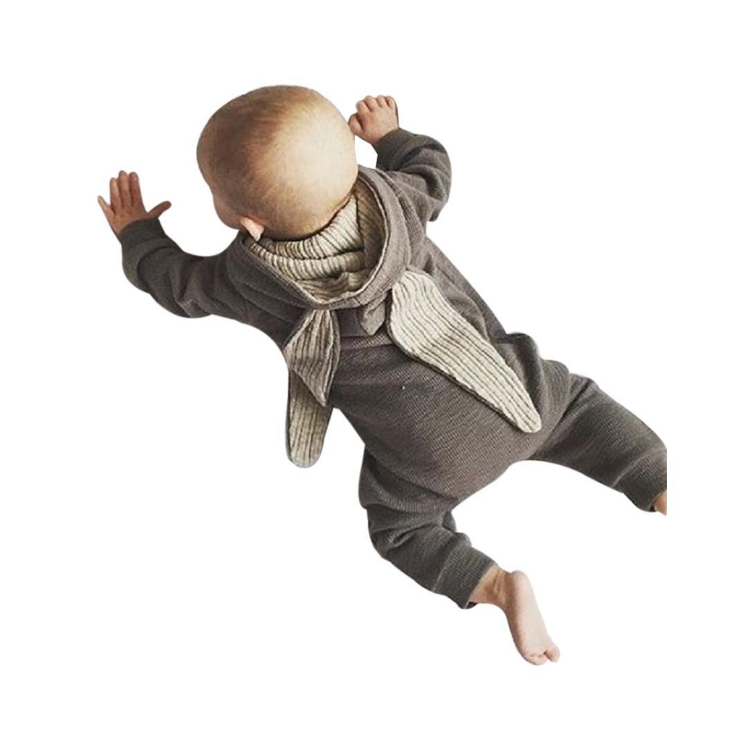Ouneed bekleidungssets , Baby Jungen Mädchen ärmellos Mit Kapuze Reißverschluss Kaninchen Hase Ohr Jumpsuit Strampler Romper Mantel 0-AZQ888