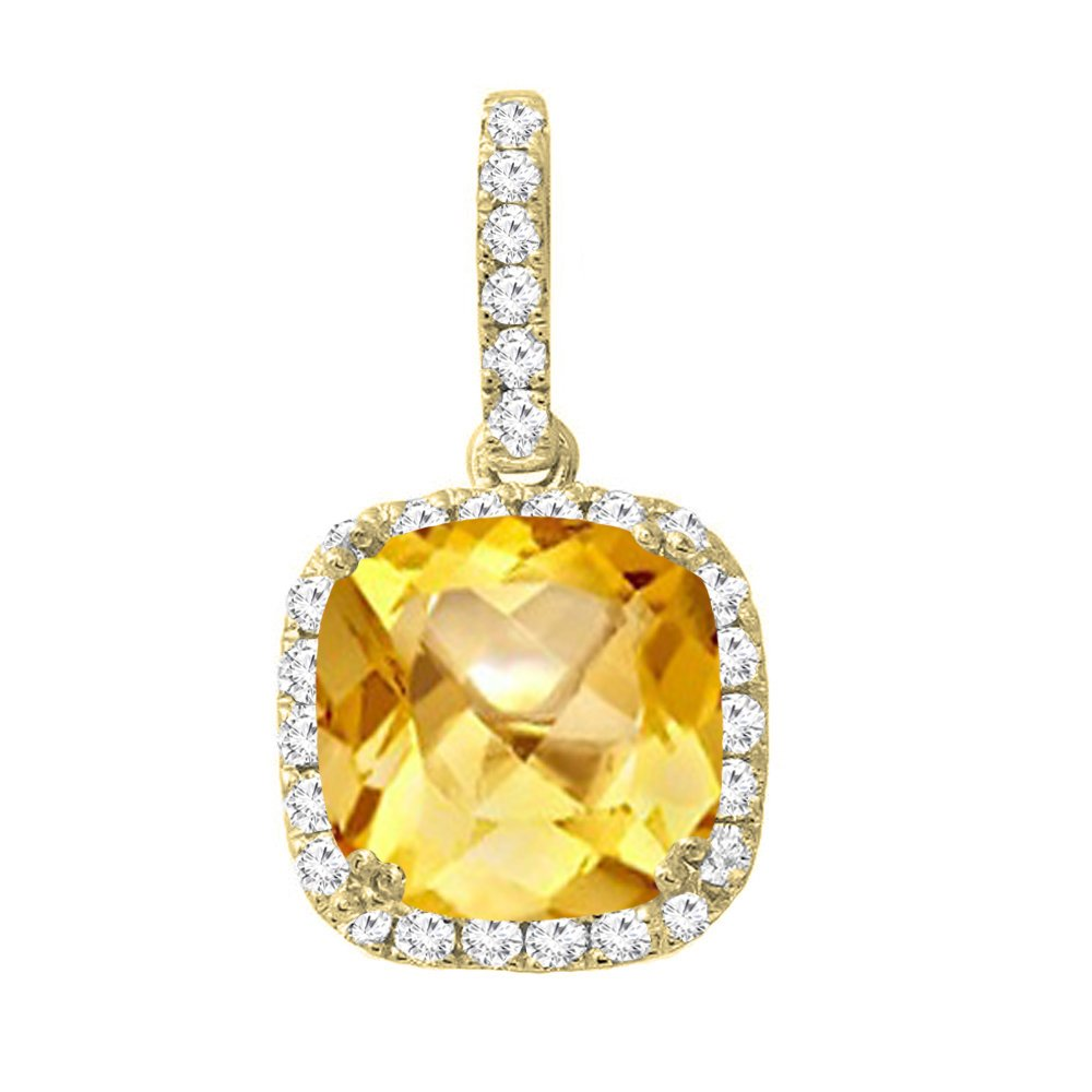 Dazzlingrock Collection 14K 8 MM Cushion Citrine & Round Diamond Ladies Halo Pendant (Silver Chain Included), Yellow Gold