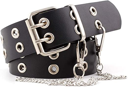 Womens Belts for Jeans Studded Double-Grommets with Chains Leather Black  Belt (Black) at Amazon Women's Clothing store