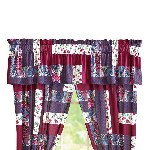 Caledonia Burgundy Floral Patchwork Rod Pocket Window Curtai