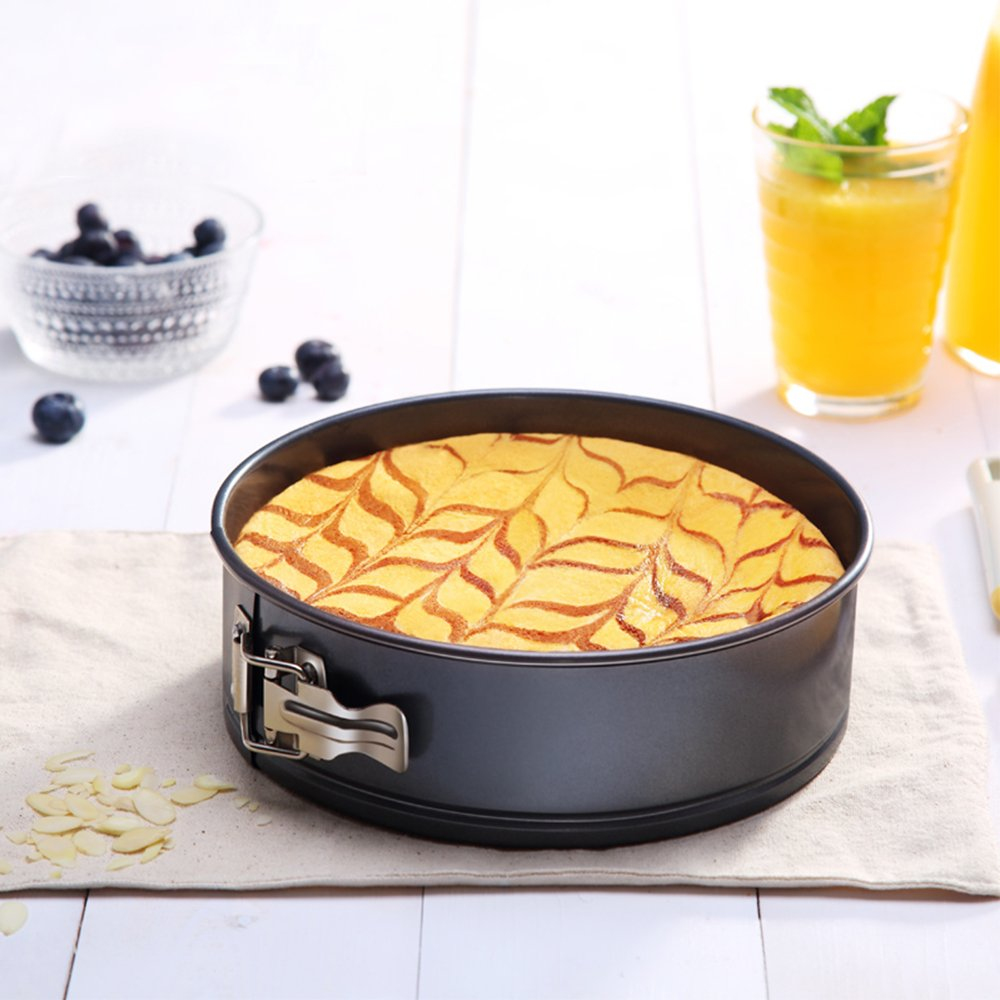 MZCH 9 inches Nonstick Springform Cake Pan Round Cheesecake Pan with Removable Bottom and Quick-Release Latch by MZCH (Image #7)