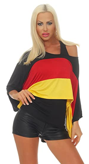Osab Fashion 11555 Damen Fan Shirt Top Kurzarm Fussball Wm 2018 Em De Deutschland Flagge Deutschland Trikot