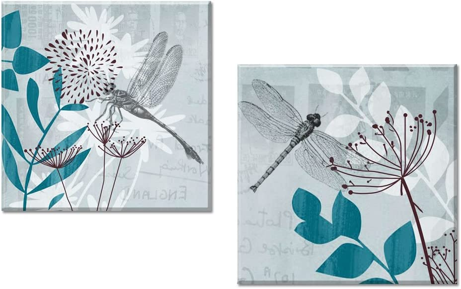 Decor Well - 2 Pieces Teal Blue Wall Art Canvas Decor Set, Dragonfly and Botanical Art Canvas Print Ready to Hang