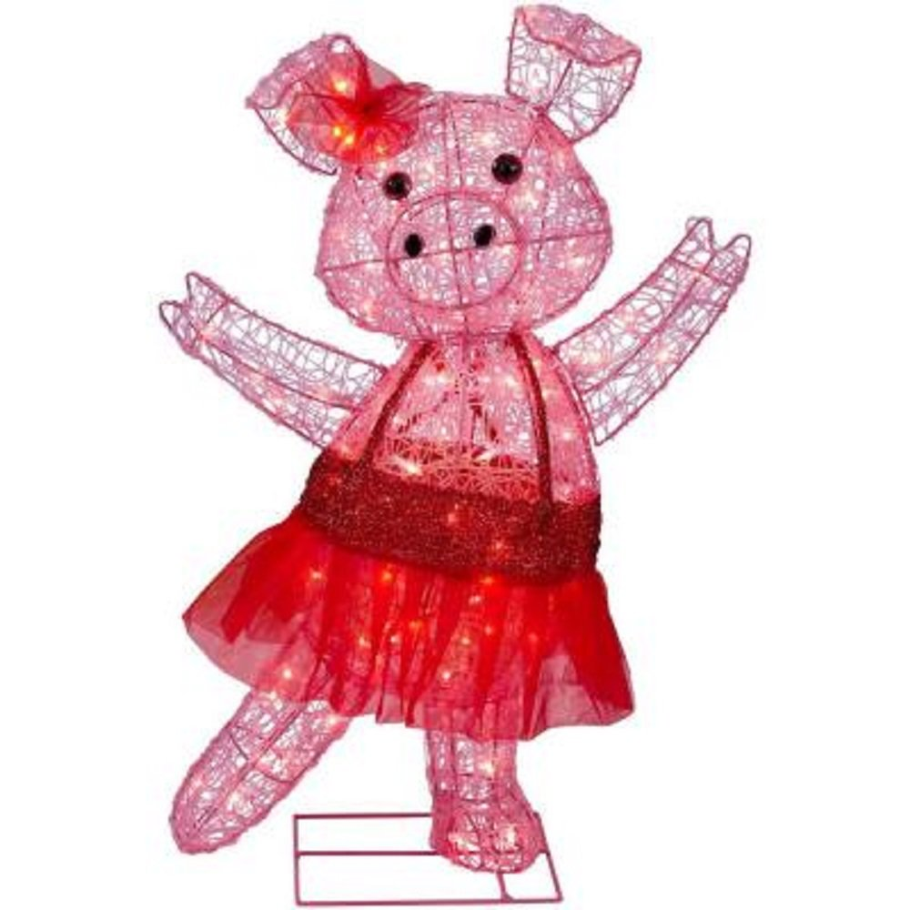 CHRISTMAS 32'' ACRYLIC PIG WITH BOW IN TUTU OUTDOOR YARD DECORATION by Unknown