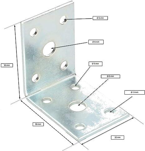 50 KOTARBAU Winkelverbinder 25 x 25 x 18 mm Sicke Stahl Bauwinkel Montagel/öcher M/öbelwinkel Verzinkt Schwerlast Holzverbinder Montagewinkel Stuhlwinkel