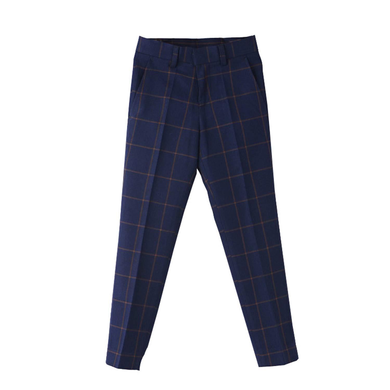Children Formal Plaid Wedding Pant Gentle Boys Preppy Style Suit Pant Trousers