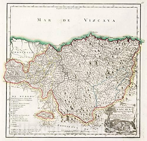 (Historic Map | 1769 88. Mapa del Muy Noble y Muy Leal senorio de Vizcaya | Vintage Wall Art | 36in x 36in)