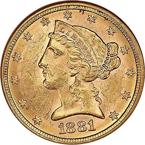 1881 P $5 Liberty Gold Five Dollar MS62 NGC at Amazon's