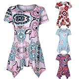 #9: Pervobs T-Shirt, Big Promotion! Women's Short Sleeve Swing Tunic Summer Floral Flare Tee Top Blouse Shirt