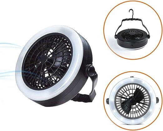 Naugust 3 en 1 LED Ventilador de Linterna para Camping USB portátil/Batería con Ventilador Lámpara de Tienda de luz con Gancho para Acampar al Aire Libre Senderismo: Amazon.es: Hogar