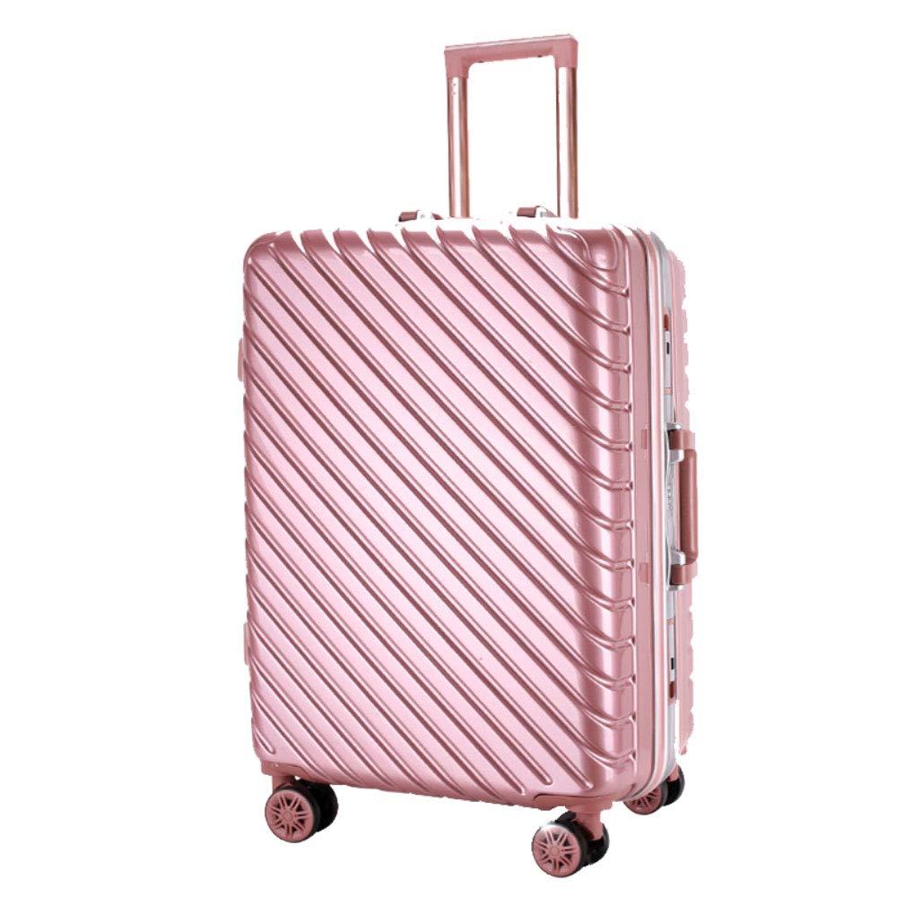 トロリー箱のアルミニウムフレーム箱のPCの男性および女性ビジネス搭乗パスワード箱のスーツケース (Color : ローズゴールド, Size : 24 inches)   B07R4QG77H
