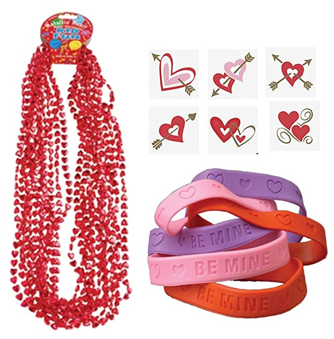 and Tattoos Nikkis Knick Knacks 96 Piece Valentines Day Party Favor Set Bracelets Necklaces