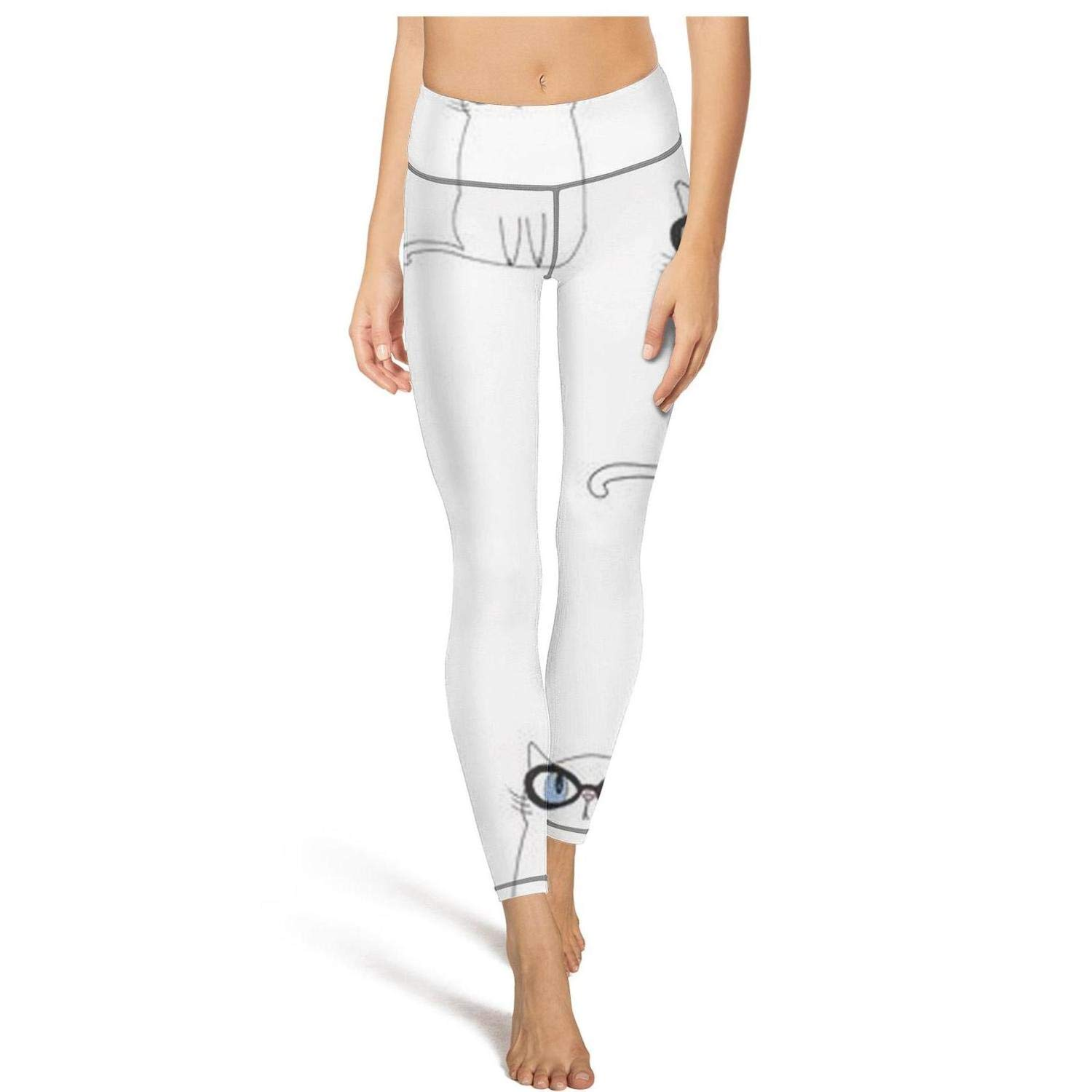 Muexxxv Woman cat with Glasses White Yoga Pants Leggings Runners Sexy Outdoor