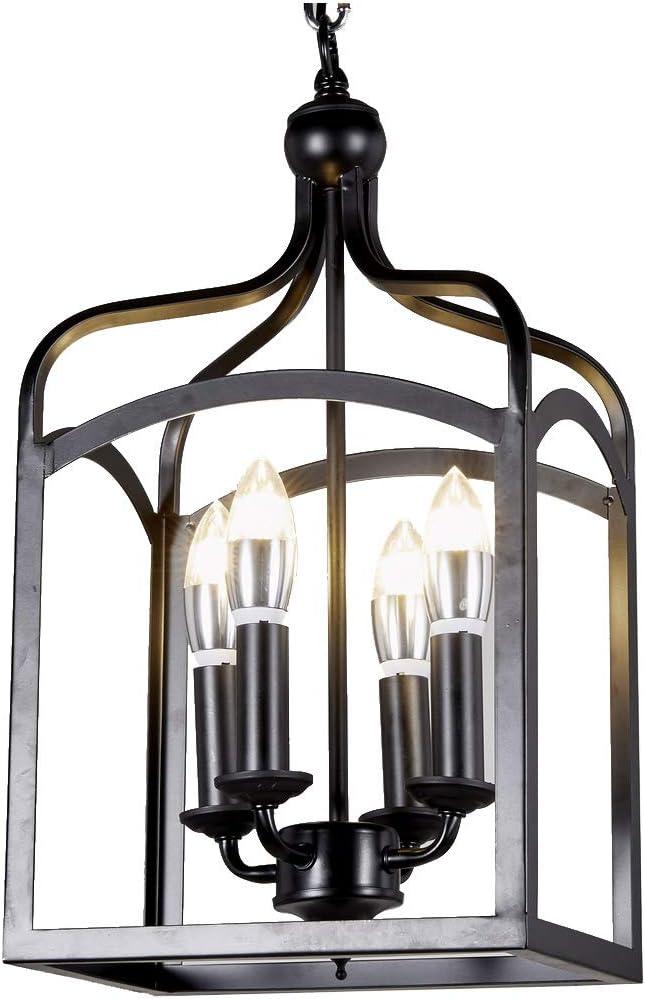Diamond Life Lighting Antique Black Finish 4-Light Hanging Lantern Iron Frame Pedant Chandelier