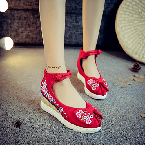 Femme Espadrilles Insun Mary Broderie Fleur Chaussures Main Rouge Janes Fait Compensées HC6qdWqRwx