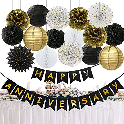 Happy Anniversary Decorations (Happy Anniversary Party Decorations Happy Anniversary Banner Tissue Paper Pom Poms Flowers Paper Lanterns Hanging Paper Fans for Black Gold Wedding Anniversary Party Birthday Anniversary)