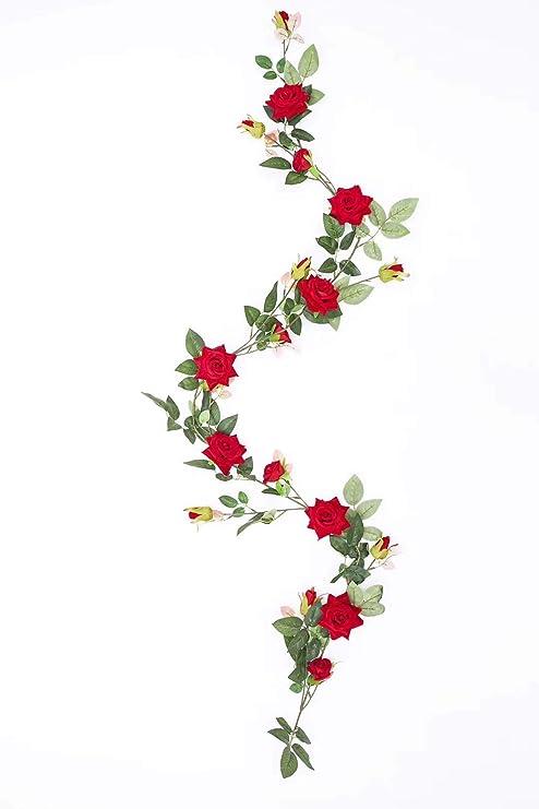 Amazon Com Tingor Artificial Red Rose Vines Fake Silk Flowers