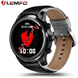 LEMFO LEM5 Smart Watch Android 5.1 MTK6580 Quad Core 1GB 8GB 3G WIFI GPS Heart Rate Monitor Cell Phone Smartwatch for Anrioid iOS Black LEM5 Black