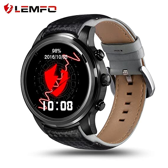 LEMFO LEM5 Smart Watch Android 5.1 MTK6580 Quad Core 1GB/8GB 3G WIFI GPS Heart Rate Monitor Cell Phone Smartwatch for Anrioid iOS (Black)