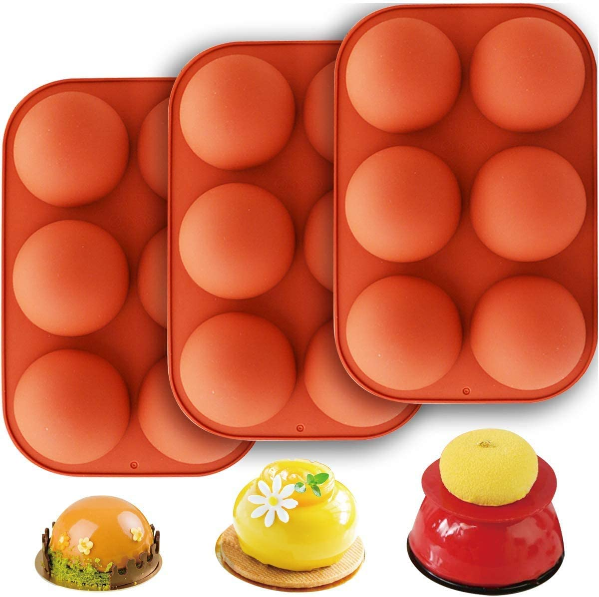 Beauteye 6-Cavity Semi Sphere Silicone Mold Baking Mold Half Ball Sphere Silicone Mold for Cake Decoration Jelly Pudding Candy Chocolate for Making Chocolate Dome Mousse Cake Jelly