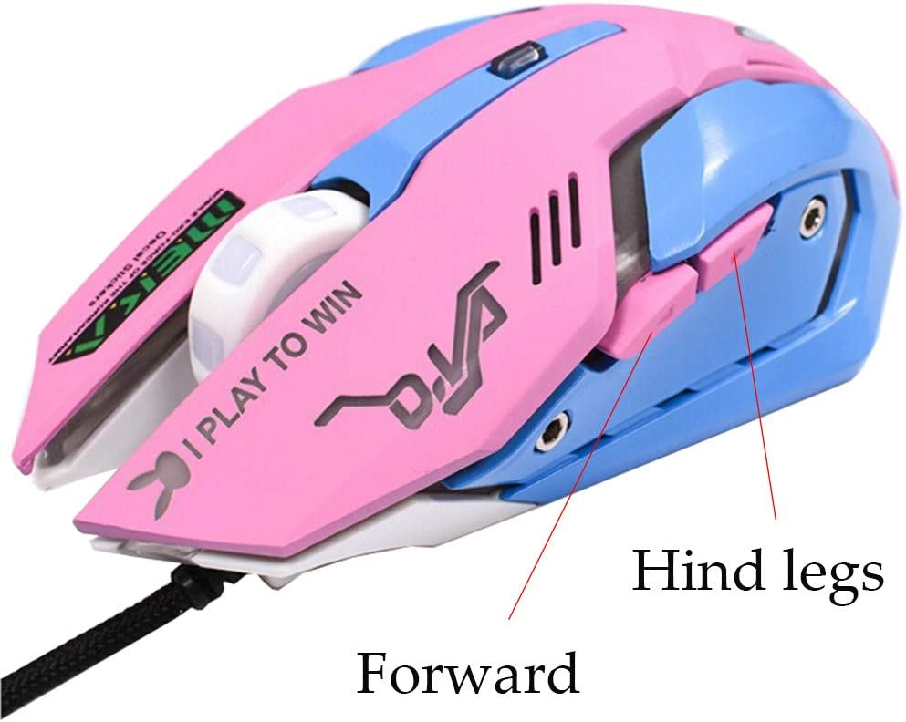 BINGFEI 3200DPI LED Optical 6D USB Wired Gaming Mouse Silent Game Mouse for PC Laptop Game,Pink