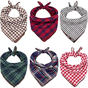 Dog Bandanas – 6PCS Birthday Gift Washable Green Black Brown Blue Red Dog Bandana Square Plaid Printing Dog Bib Double Reversible Kerchief Scarf Adjustable Accessories for Small to Large Dog Puppy Cat