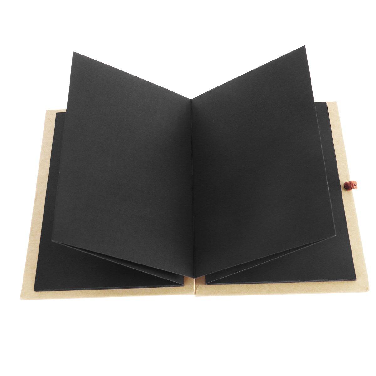 luoem carta kraft con copertina rigida, stile fisarmonica, Album portafoto fai da te, Libro 36 pagina, Blocco per Appunti, graduati, Compleanno, anniversario, regalo di matrimonio, pagine nere) Libro 36pagina