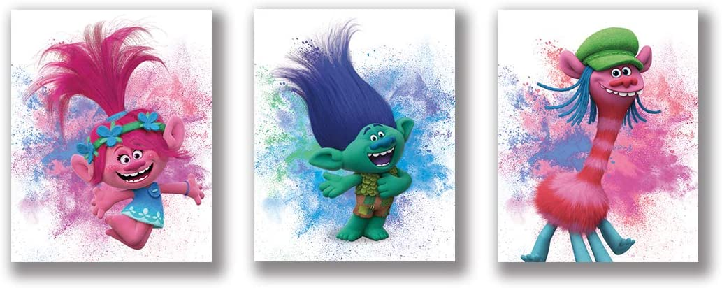 "VOUORON Cartoon Trolls Watercolour Art Prints Set of 3 (8""X10"" Canvas Picture) Trolls Poppy Art Painting Used for Nursery Wall Poster Kids Boys or Girl Birthday Gift Game Room Decor Frameless"