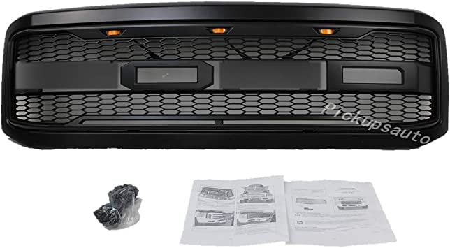 Raptor Style Grill Matte Black Grille Replacement Amber LED Lights Included Front Grill for Ford F250//F350 1999-2004