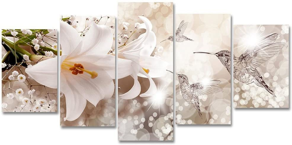 White Lily Flower Canvas Painting Abstract Humminbird Animal Wall Art
