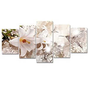 Flower Painting Canvas Picture Wall Art Madonna Lily with Abstract Hummingbird Animal Artwork 5 Panels for Living Room Ready to Hang