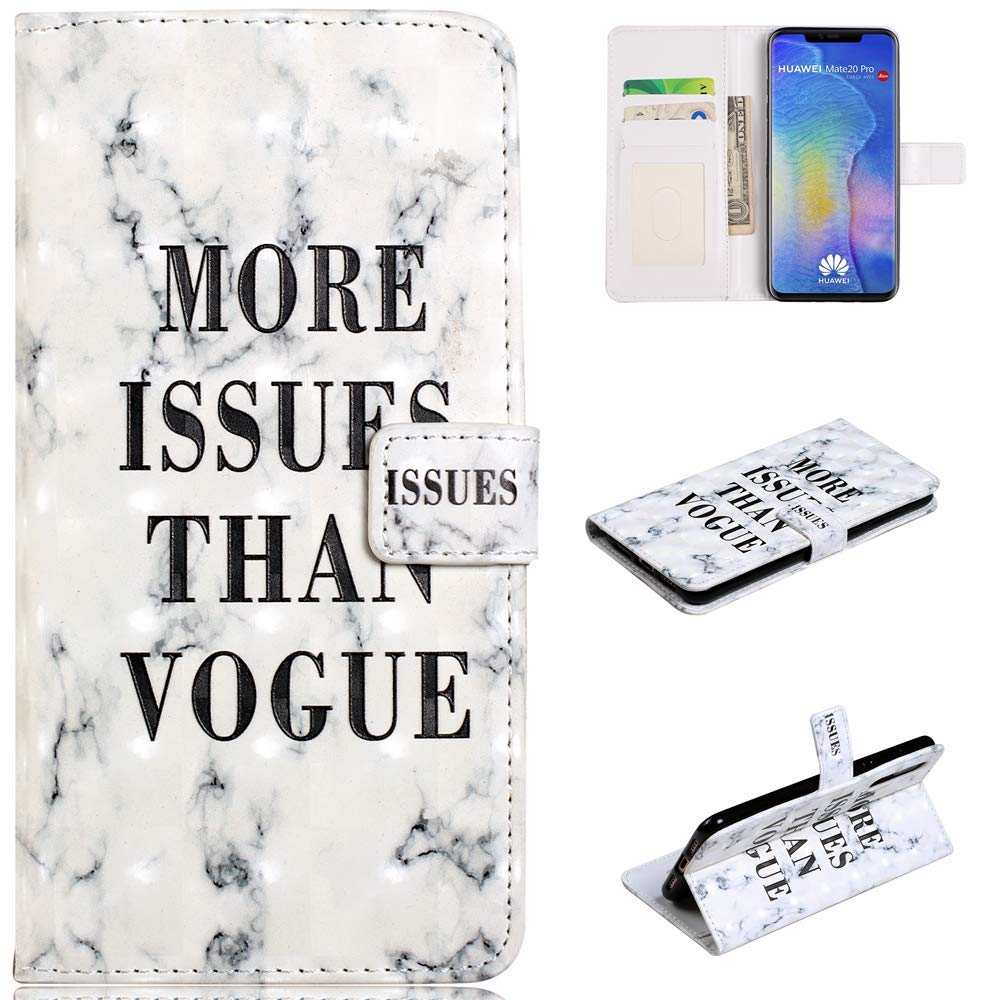 White Dots QFUN Glitter Wallet Case for Huawei P20 Lite and Screen Protector Magnetic Stand Leather Phone Case with Card Holder Drop Protection Etui Bumper Flip Cover Bling 3D Pattern Design
