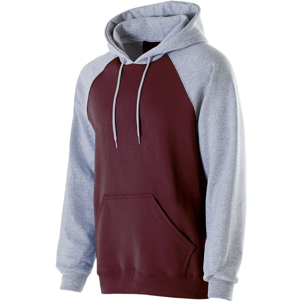 Holloway Youth Banner Hoodie (Medium, Maroon/Athletic Heather) by Holloway