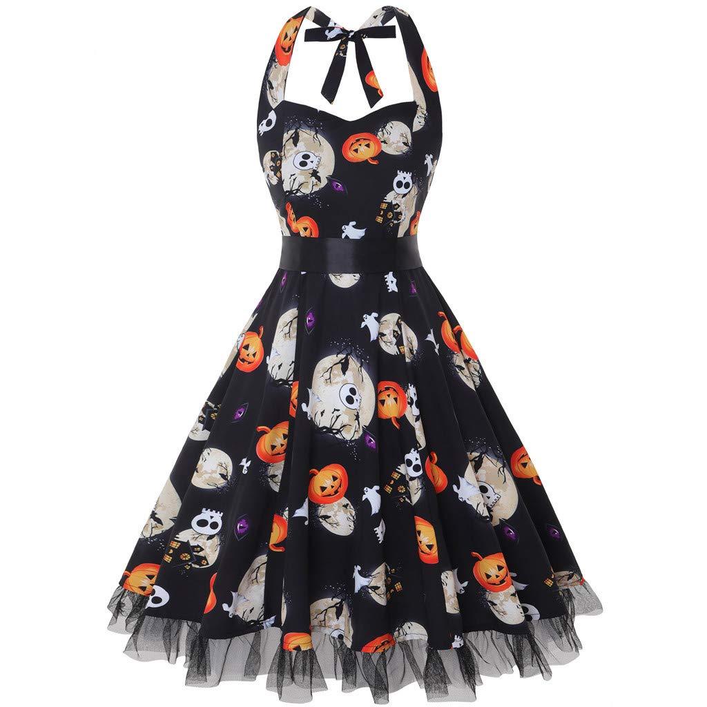 Women's Vintage Polka Halter Floral Sping Retro Cocktail Dress Black