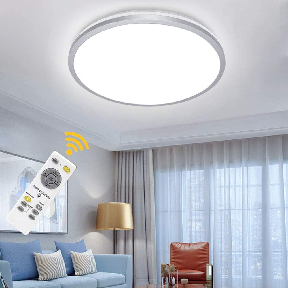Amazon Com Dllt 35w Modern Dimmable Led Flush Mount Ceiling Light Fixture With Remote 15 Inch Round Close To Ceiling Lights For Living Room Bedroom Kitchen Dining Room Lighting Timer 3 Light Color Changeable