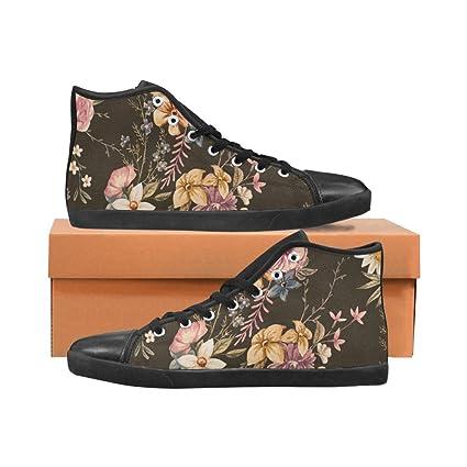 08dcdb7fd6940 Amazon.com : Dark Floral Flower fashion art Designer Painted Shoes ...