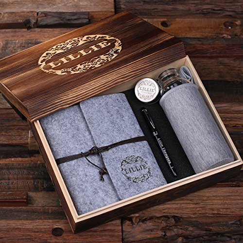Personalized Felt Journal Water Bottle Pen and Wood Box
