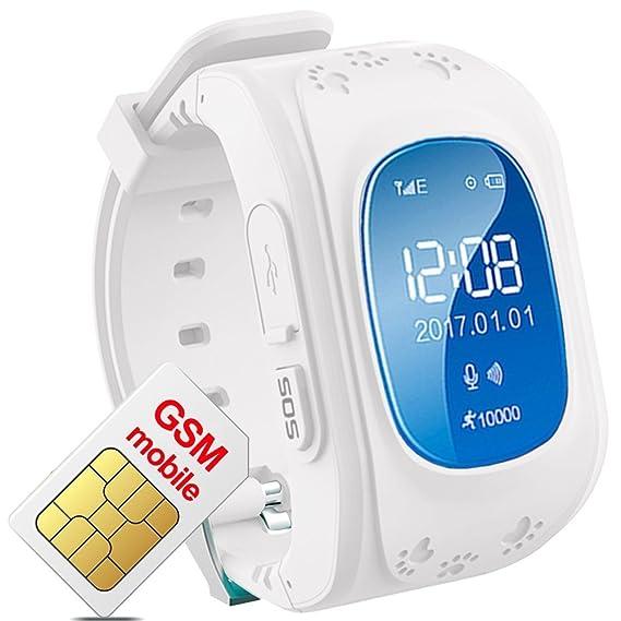 Reloj Inteligente para niños con rastreador GPS, teléfono SIM, antipérdida, Pulsera SOS, Control para iOS y Android Smartphone Q50 LBS Kids Reloj de ...
