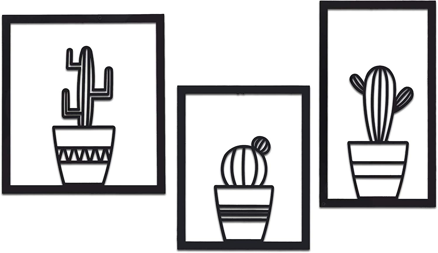 SOFT ART HOME Modern Wall Art Triple Cactus, Metal Wall Decoration 3 Pieces for Home. Vase Cactuses, Interior Decor for Office and Living Room, Natural Themed House Warming Gift.