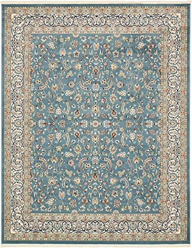 Unique Loom Narenj Collection Classic Traditional Repeating Pattern Blue Area Rug 8 0 x 10 0