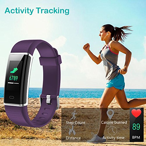 Willful Fitness Tracker, Heart Rate Monitor Fitness Watch Activity Tracker(14 Modes) Pedometer with Step Counter Sleep Monitor Call SMS SNS Notice for Women Men Kids (Purple+Black) by Willful (Image #3)