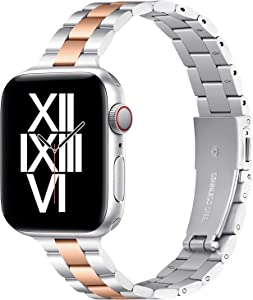 Thin Metal Band Compatible with Apple Watch 38mm 40mm Slim Stainless Steel Adjustable Wristband Strap for iWatch SE Series 6 5 4 3 2 1 for Women Men,Silver/RoseGold