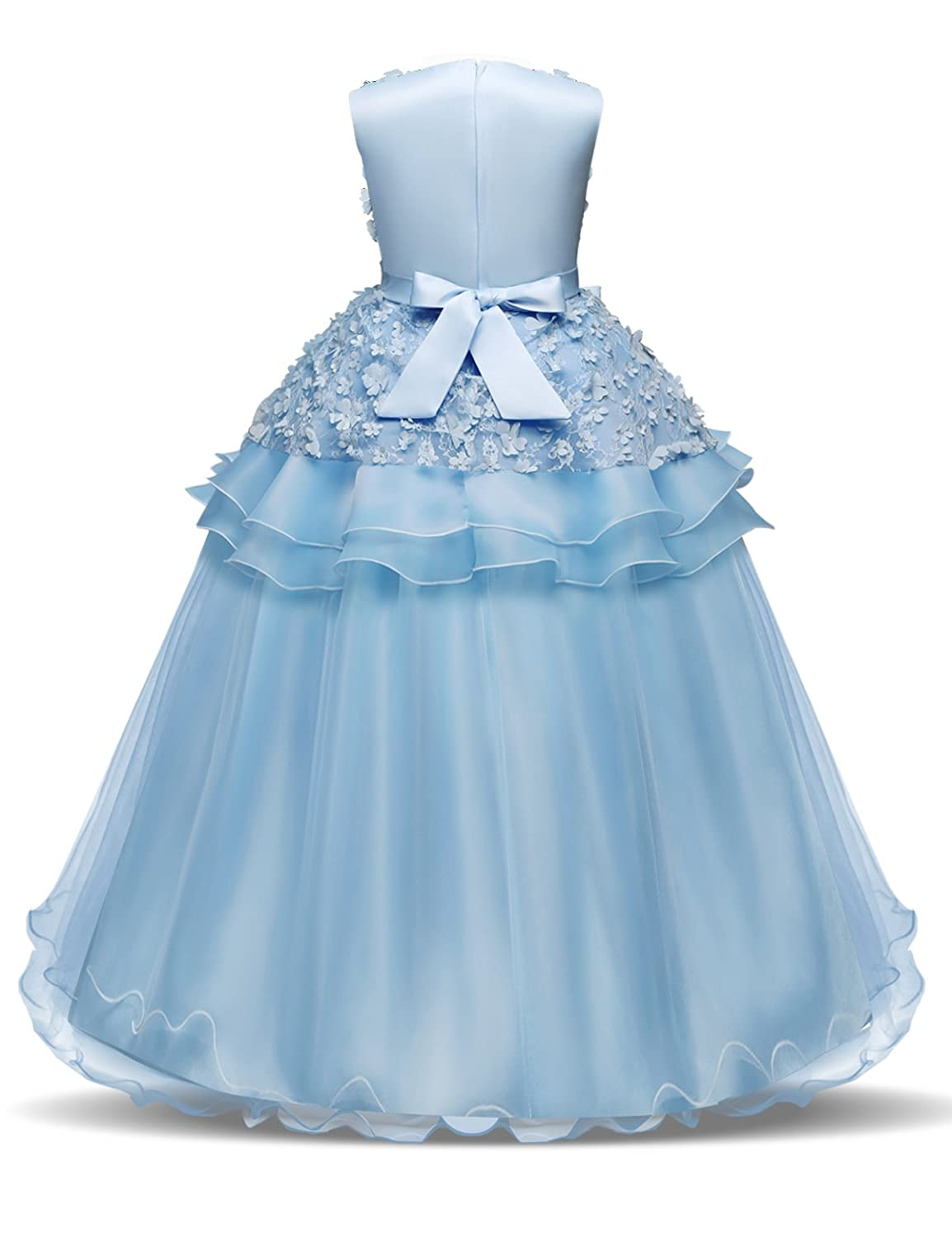 8683e8b35f Amazon.com  NNJXD Girl Sleeveless Embroidery Princess Pageant Dresses Kids  Prom Ball Gown  Clothing