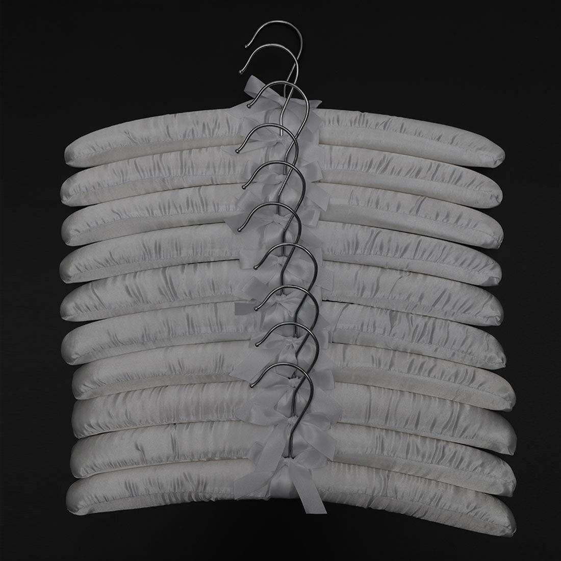 PetHot 10 Pcs Clothes Coat Hangers White Satin Padded Soft 43cm Wardrobe Hook For Dresses Wedding Bridal Lingerie Woolen