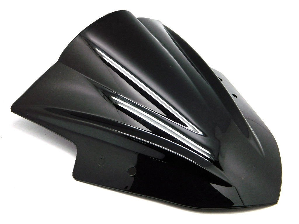 9sparts Black | Clear | Smoke Double Bubble ABS Plastic Injection Windscreen Windshield For 2013 2014 2015 2016 2017 Kawasaki Ninja 300 EX300 300R (Black)