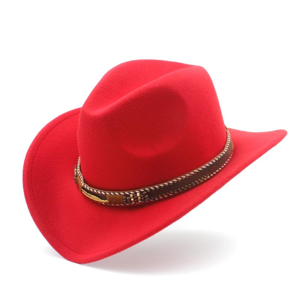 Bella House Classic Western Style Cowboy Cowgirl Straw Hat for Women Men Funny Party Cap (Color : Wine red, Size : 56-58cm)